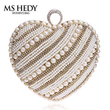 Heart Shape Pearl Beaded Women Evening Bag Chain Figer Ring Fashion Purse Delicate Rhinestone Diamonds Hand Bag and Wallet