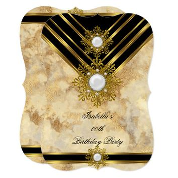 Marble Gold Pearl Beige Black Birthday Party Invitation