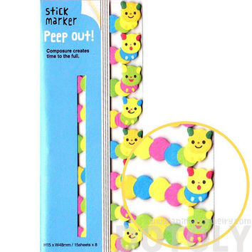 Adorable Hungry Caterpillar Shaped Peep Out Memo Post-it Sticky Tabs from Japan | Cute Affordable Animal Themed Stationery