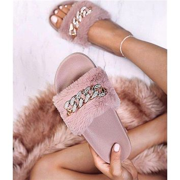 Fur Diamonds Women Fashion Slipper Flats Shoes