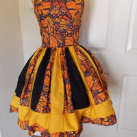 Custom Made to Order Hunger Games Effie Inspired Butterfly Sweet Heart Patchwork Halter Dress and butterfly headband