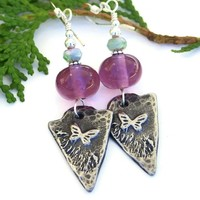 Butterfly Arrowheads and Purple Amethyst Lampwork Earrings, Handmade Summer Beaded Jewelry