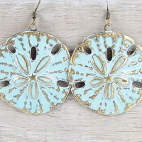Beach Jewelry Sand Dollar Earrings Bohemian Boho Chic Light Turquoise Blue Distressed Weathered Ocean Aqua Accessories Women