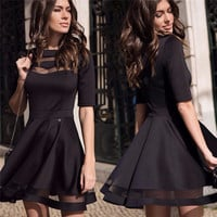 2016 Women Summer Style Sexy Casual Dress Black Short Sleeve O-neck Vintage Party Dresses
