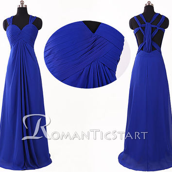 2015 royal blue criss cross straps long prom dress with open back, backless sweep train evening dress, 80s long formal dresses ,RS1063