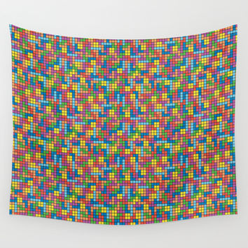 Colorful Tetris Pixel Pattern Wall Tapestry by Pi Design Prints
