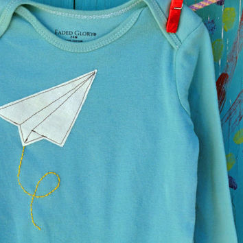 Baby Onesuit Paper Airplane Applique Handdyed Teal by OddEDesigns