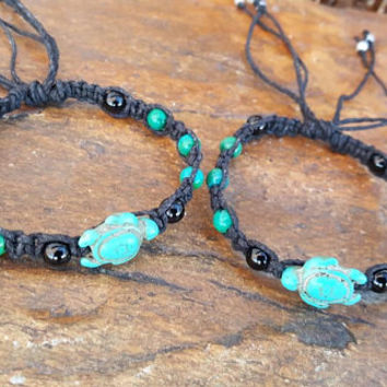 Hemp Bracelet Set, Adjustable, Sea Turtle Bracelets, Chrysocolla, Gift for Her, Friendship Bracelets, Turtle Hemp Bracelet, Hemp Jewelry