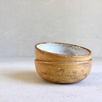 YELLOW RUSTIC BOWLS ceramic, pottery, handmade, smallbowl, rice bowl, icecream bowl, general bowl, ceramicbowl, potterybowl, 60s 70s, yellow