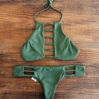 HOT DARK GREEN TWO PIECE BIKINI