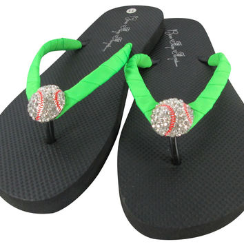 Neon Lime Green Baseball Rhinestone Flip Flops for Girls and Ladies