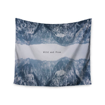 "Suzanne Carter ""Wild and Free"" Blue Gray Digital Wall Tapestry"