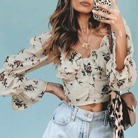 Vintage Square Collar Floral Female Blouse Shirt Puff Sleeve Blouses Women Beach Holiday Casual Sexy Blusa Mujer