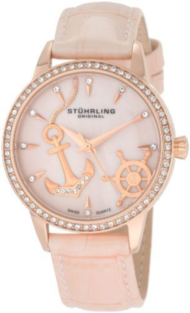 Stuhrling Original Women's 520.1145A9 Vogue Audrey Verona Del Mar Swiss Quartz Mother-Of-Pearl Swarovski Crystal Pink Watch