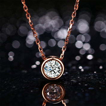 LASAMERO 18k Rose Gold 0.3ct Bezel Diamond Pendant Simple Solitaire Natural Diamond Pendant Necklace Fine Jewelry