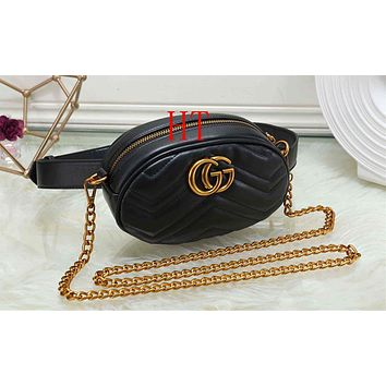 """Gucci"" Women Personality Fashion Logo Letter Waist Bag Chest Bag Mini Small Round Bag Shoulder Messenger Bag"