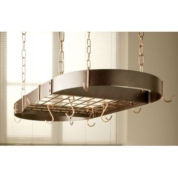 Rogar Oval Hanging Pot Rack with Grid In Hammered Copper and Copper
