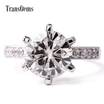 TransGems 14K White Gold 6.0 CTW Carat Lab Grown moissanite Diamond Wedding Engagement Solitaire Ring with accents  for Women