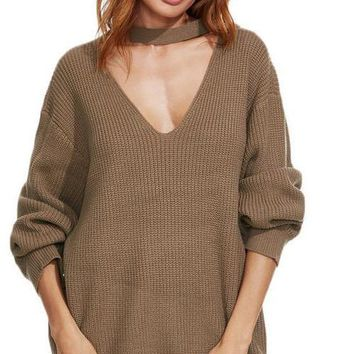 SheIn Autumn Women Sweaters and Pullovers Khaki Drop Shoulder Cut Out V Neck Long Sleeve Loose Casual Oversized Sweater