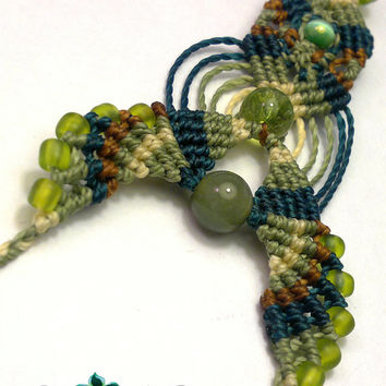 Macrame hair accessory with wax cord,  tourmaline beads and mexican opal beads