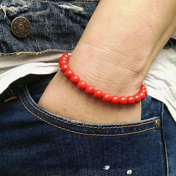 Mens Bracelet RED HOWLITE 8 mm UNISEX Natural Bracelet Chakra Energy Yoga Bracelet Howlite  Meditation Healt Chains Bracelet Energy Howlite