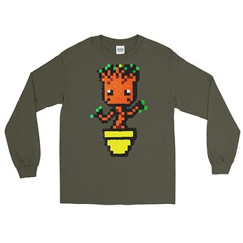 Baby Groot Perler Art Long Sleeve T-Shirt by Aubrey Silva