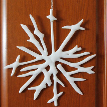Snowflake Wall Art  Fused Glass, Glass Sculpture  Decorative Fused Glass,  Unique Glass Art