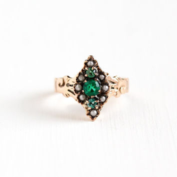Antique Victorian 10k Rose Gold Green Garnet Doublet and Seed Pearl Ring - Vintage Late 1800s Size 6.5 Green White Gem Navette Fine Jewelry