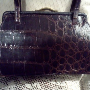 Vintage- Alligator/Croc - Box -purse- handbag -Chocolate Brown - Kelly style- gift for her - clothes -accessories - mad men- helping hearts