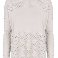 Pointelle Panelled Top - Knitwear - Clothing