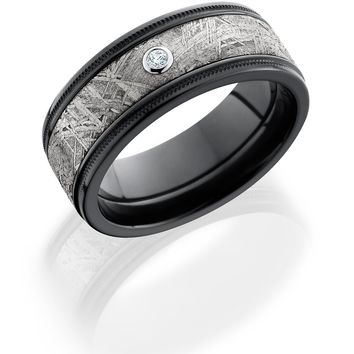 Zirconium wedding band with Gibeon Meteorite inlay, reverse milgrain detail and diamond accent hand crafted ring
