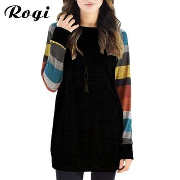 Rogi 2018 Fashion Women T Shirt  Casual O-Neck Long Sleeve Female T-Shirt Striped Patchwork T Shirts Loose Baseball Shirt Tops