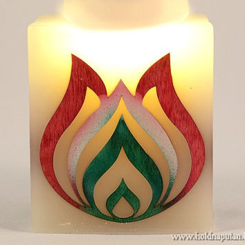 Folk art tulip ornament Hungarian wooden flower in national colors red white green candle with inlay marquetry