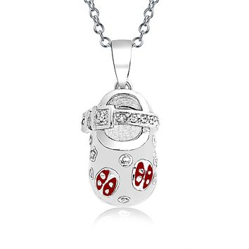 Baby Shoe Charm Pendant New Mother Red Ladybug CZ 925 Sterling Silver