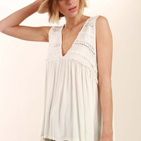 Crochet & Ruffled Ivory Soft Tank
