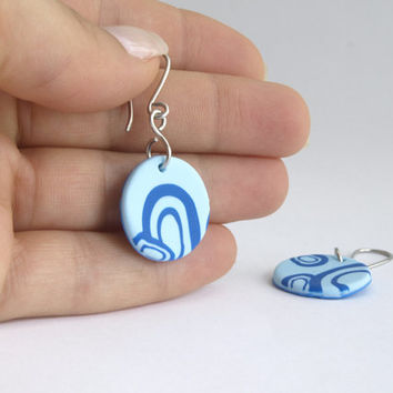 Small Blue Earrings, Round Earrings with Circles