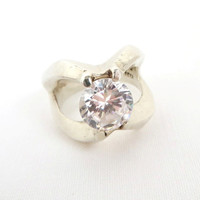 Vintage Mexico Silver Ring, Solitaire CZ Engagement Ring Size 8.5