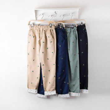 Teddy Bear Cotton Drawstring Pants