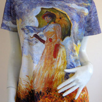 MONET Woman with Parasol Fine Art Print T Shirt Misses Cap Sleeve S M L XL New!