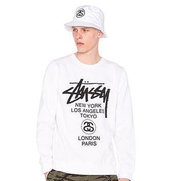 75b7bf3bdb4 Stussy World Tour Paint Loose Top Sweater Pullover Sweatshirt