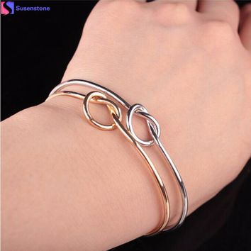 Simple knot bracelet Chic Fashion Simple Knot Bangle Cuff Opening Bracelet Copper Casting Jewelry #4-5
