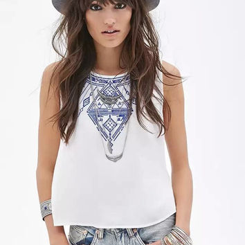 embroidered Button Back Sleeveless Crop Tank Shirt