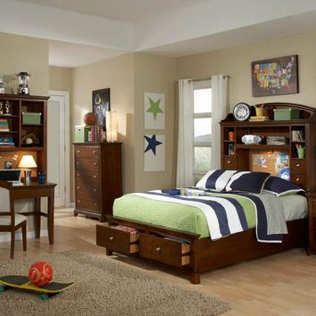 2880 Impressions - Complete Bookcase Bed With Storage Footboard - Twin