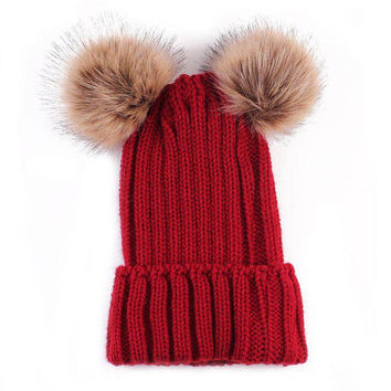 Chunky Knit Hat With Double Faux Fur Removable Pom Poms Beanie