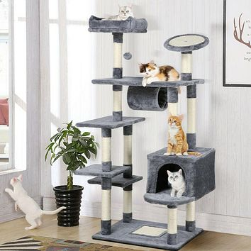 62'' Large Cat Tree Tower Condo, Scratch Post Grey