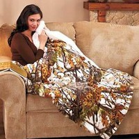"White In The Woods Camo Plush Sherpa Throw Blanket Soft Warm Sofa Bed 50""x70"""
