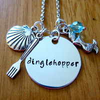 "Disney's ""Little Mermaid"" Inspired Necklace. Dinglehopper. Charm Pendant, Silver colored, Swarovski crystal, for women or girls"