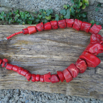 Vintage genuine Coral chunky necklace - dyed coral necklace vintage red necklace jewellery - 22 inch chunky red vintage costume jewellery