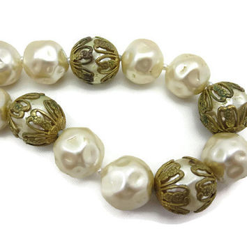Miriam Haskell Pearl Necklace - Triple Strand Pearls 1970s Costume Jewelry
