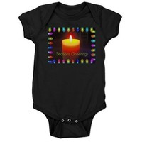 Seasons Greetings Candle Baby Bodysuit> Christmas Art> Celebrate A Holida